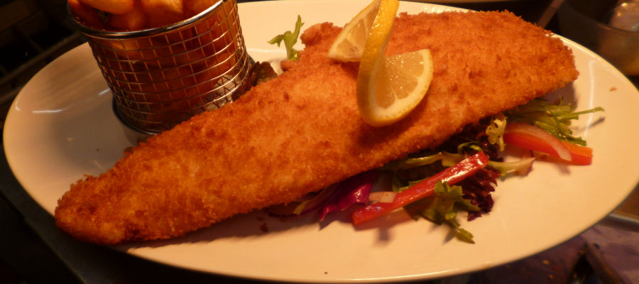 Breaded Haddock at the Queens Hotel Dining Room