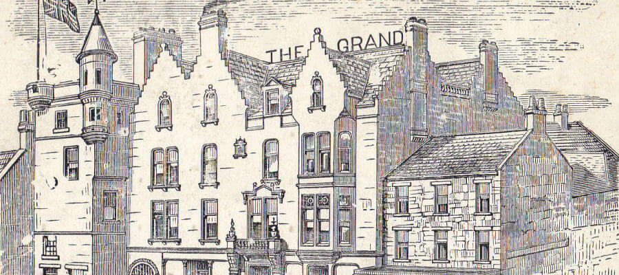 KGQ Lerwick Hotels, - Old drawing of The Grand Hotel, Lerwick