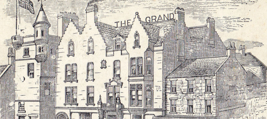 Old Drawing of KGQ Hotels Ltd, Shetland Hotels group, Grand Hotel