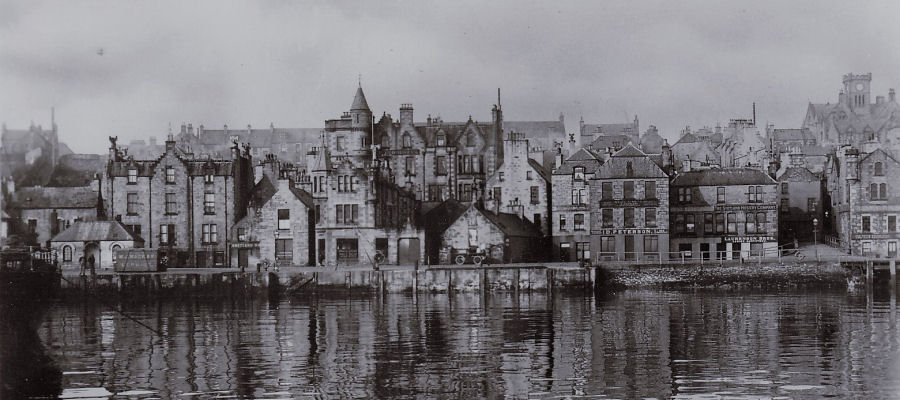 Old photograph of the Grand Hotel, Lerwick taken from the Victoria Pier.