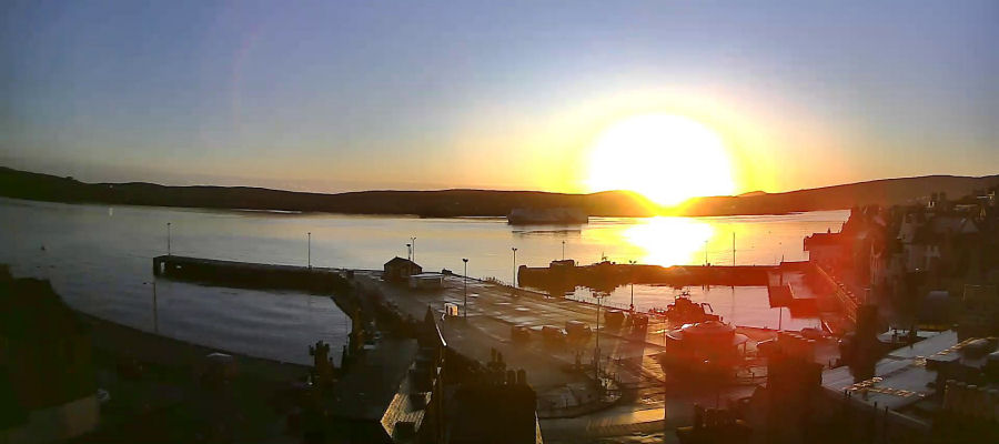 Sunrise over Lerwick Harbour. September equinox 2017